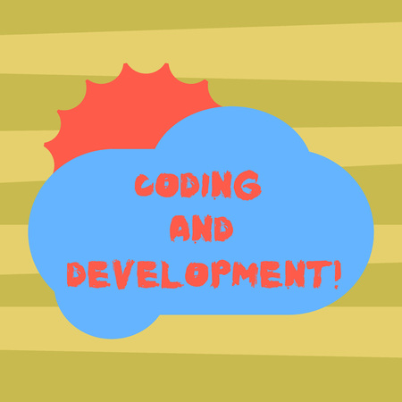Text sign showing Coding And Development. Conceptual photo To program or create a software or any application Sun Hiding Shining Behind Blank Fluffy Color Cloud photo for Poster Ads