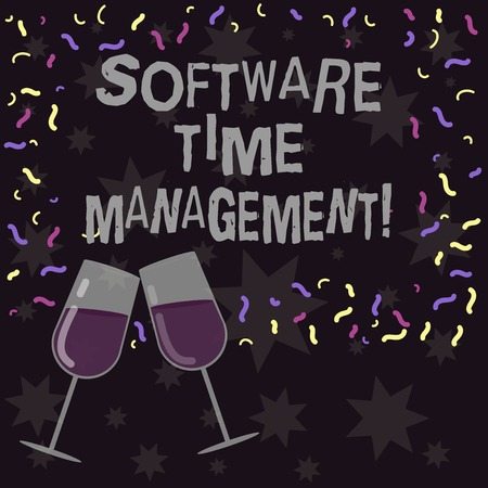 Conceptual hand writing showing Software Time Management. Business photo showcasing Tools used to monitor workers time spent in work Filled Wine Glass for Celebration with Scattered Confetti Stock Photo