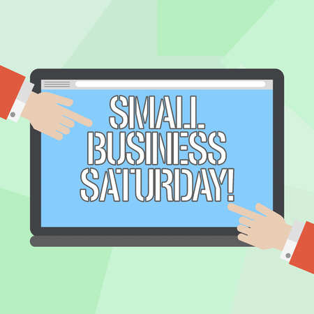 Conceptual hand writing showing Small Business Saturday. Business photo showcasing American shopping holiday after thanksgiving Hu analysis Hands Pointing on a Blank Color Tablet Screen Stock Photo
