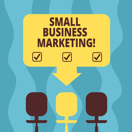 Conceptual hand writing showing Small Business Marketing. Business photo showcasing Specific method of selling the products and service Space Color Arrow Pointing to One of the Three Swivel Chairs Stock Photo