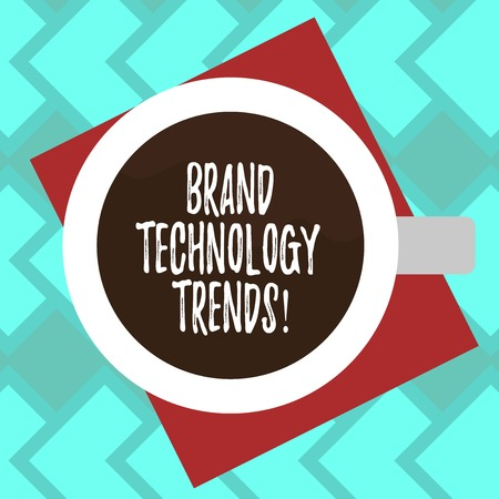 Text sign showing Brand Technology Trends. Conceptual photo photographic print used as a proof for platemaking Top View of Drinking Cup Filled with Beverage on Color Paper photo
