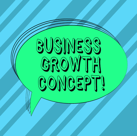 Text sign showing Business Growth Concept. Conceptual photo process of improving some measure of success Blank Oval Outlined Solid Color Speech Bubble Empty Text Balloon photo