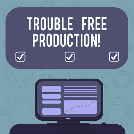 Conceptual hand writing showing Trouble Free Production. Business photo showcasing Without problems or difficulties in the production Mounted Computer Screen with Line Graph on Desk Text Box Stock Photo