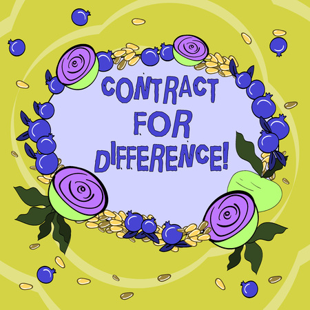 Handwriting text Contract For Difference. Concept meaning contract between an investor and an investment bank Floral Wreath made of Tiny Seeds Small Glossy Pomegranate and Cut Beet Stock Photo