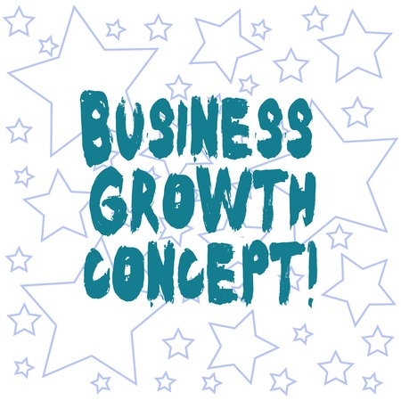 Text sign showing Business Growth Concept. Conceptual photo process of improving some measure of success Outlines of Different Size Star Shape in Random Seamless Repeat Pattern