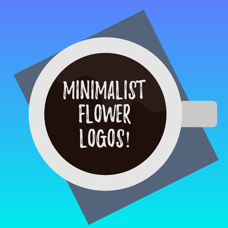 Handwriting text writing Minimalist Flower Logos. Concept meaning use minimalism in logo design to make brand modern Top View of Drinking Cup Filled with Beverage on Color Paper photo