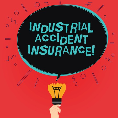 Writing note showing Industrial Accident Insurance. Business photo showcasing payments for demonstrating exposed to the work hazard Oval Speech Bubble Above a Broken Bulb with Failed Idea icon Stock Photo