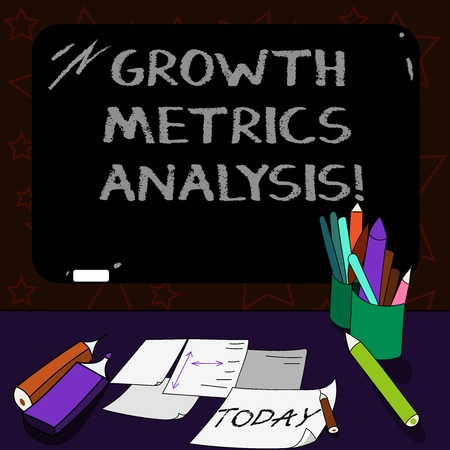 Writing note showing Growth Metrics Analysis. Business photo showcasing Evaluating the company s is historical growth Mounted Blackboard with Chalk Writing Tools Sheets on Desk