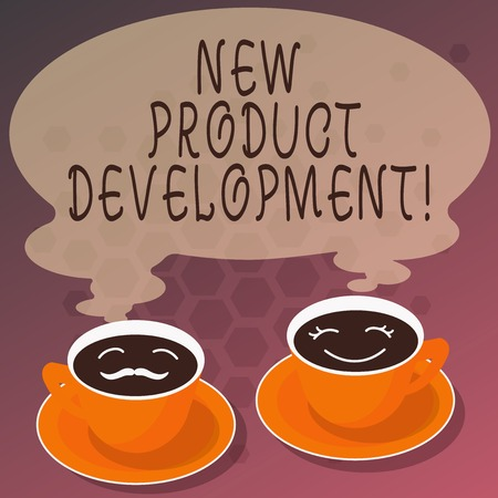 Word writing text New Product Development. Business concept for Process of bringing a new product to the marketplace Sets of Cup Saucer for His and Hers Coffee Face icon with Blank Steam Stock Photo