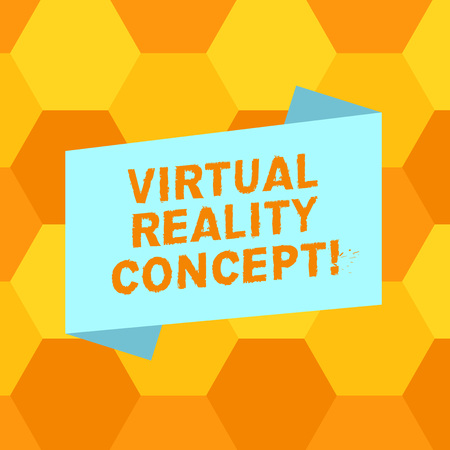 Handwriting text writing Virtual Reality Concept. Concept meaning artificial environment that is created with software Blank Color Folded Banner Strip Flat Style photo for Announcement Poster