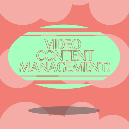 Writing note showing Video Content Management. Business photo showcasing assessment of an individual s is response to a product Blank Color Oval Shape with Horizontal Stripe Floating and Shadow