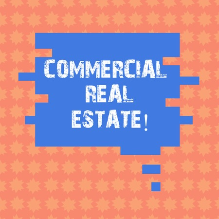 Writing note showing Commercial Real Estate. Business photo showcasing property that is used solely for business purposes Speech Bubble in Puzzle Piece Shape for Presentation Ads Stock Photo
