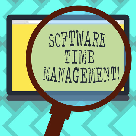Text sign showing Software Time Management. Conceptual photo Tools used to monitor workers time spent in work Magnifying Glass Enlarging Tablet Blank Color Screen photo text Space