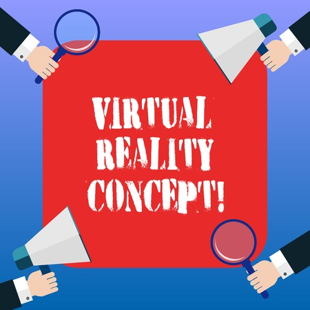 Handwriting text Virtual Reality Concept. Concept meaning artificial environment that is created with software Hu analysis Hands Each Holding Magnifying Glass and Megaphone on 4 Corners