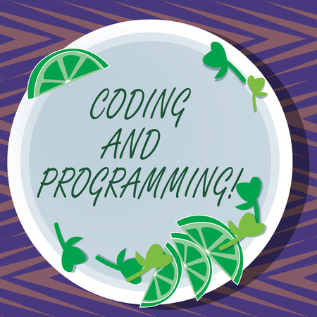 Word writing text Coding And Programming. Business concept for Design and build an executable computer program Cutouts of Sliced Lime Wedge and Herb Leaves on Blank Round Color Plate