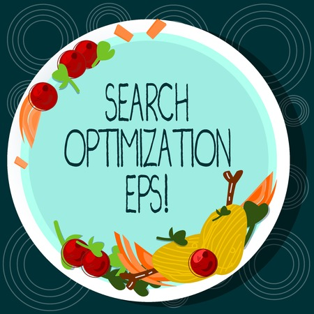 Word writing text Search Optimization Eps. Business concept for process affecting the visibility of a website Hand Drawn Lamb Chops Herb Spice Cherry Tomatoes on Blank Color Plate Stock Photo