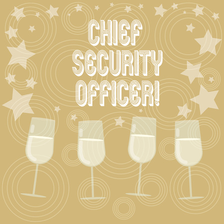 Writing note showing Chief Security Officer. Business photo showcasing analysisages an organization s is security and systems Filled Cocktail Wine Glasses with Scattered Stars as Confetti Stemware Stock Photo