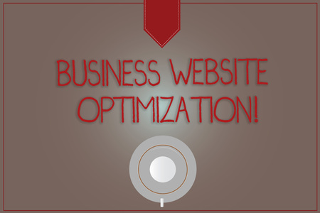 Writing note showing Business Website Optimization. Business photo showcasing Boost and improve Search Engine Visibility Coffee Cup Top View Reflection on Blank Color Snap Planner