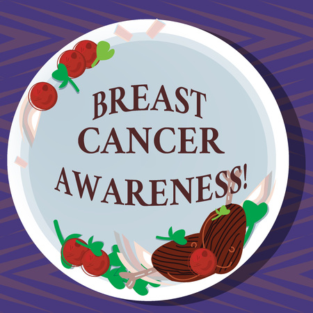 Word writing text Breast Cancer Awareness. Business concept for effort to raise preparedness about the sickness Hand Drawn Lamb Chops Herb Spice Cherry Tomatoes on Blank Color Plate Stock Photo
