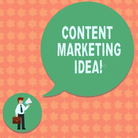 Writing note showing Content Marketing Idea. Business photo showcasing focused on creating and distributing valuable content Man in Necktie Carrying Briefcase Holding Megaphone Speech Bubble Stock Photo