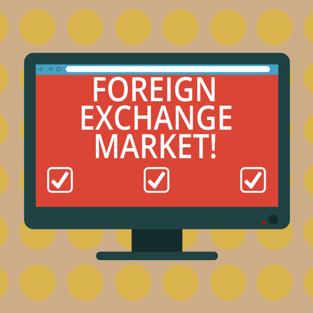 Word writing text Foreign Exchange Market. Business concept for global decentralized trading of currencies Blank Computer Desktop Monitor Color Screen Mounted with Progress Bar