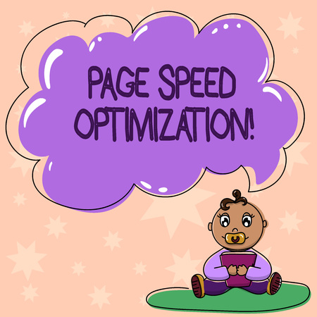 Word writing text Page Speed Optimization. Business concept for Improve the speed of content loading in a webpage Baby Sitting on Rug with Pacifier Book and Blank Color Cloud Speech Bubble Stock Photo