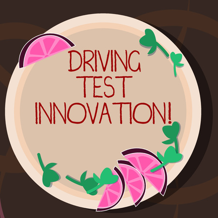 Conceptual hand writing showing Driving Test Innovation. Business photo showcasing Advance car assessment and testing before buying it Cutouts of Sliced Lime Wedge and Herb Leaves on Color Plate