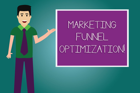 Conceptual hand writing showing Marketing Funnel Optimization. Business photo showcasing Improving the customer acquisition campaign Man with Tie Talking Presenting Blank Color Square Board Фото со стока