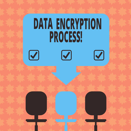 Writing note showing Data Encryption Process. Business photo showcasing The method of translating data into another form Space Color Arrow Pointing to One of the Three Swivel Chairs Stock Photo
