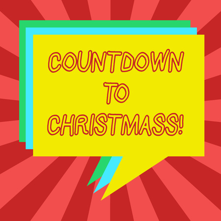 Conceptual hand writing showing Countdown To Christmas. Business photo showcasing period of time leading up to a significant event Stack of Speech Bubble Different Color Piled Text Balloon