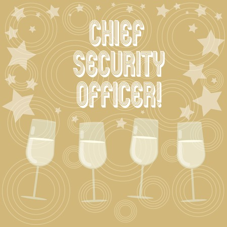 Writing note showing Chief Security Officer. Business photo showcasing analysisages an organization s is security and systems Filled Cocktail Wine Glasses with Scattered Stars as Confetti Stemware Stock fotó
