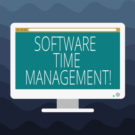 Writing note showing Software Time Management. Business photo showcasing Tools used to monitor workers time spent in work Blank Computer Desktop Monitor Color Screen Mounted with Progress Bar