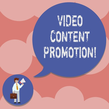 Writing note showing Video Content Promotion. Business photo showcasing video with the intent to promote the products Man in Necktie Carrying Briefcase Holding Megaphone Speech Bubble