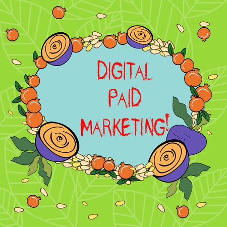 Text sign showing Digital Paid Marketing. Conceptual photo marketing efforts that involve a paid placement Floral Wreath made of Tiny Seeds Small Glossy Pomegranate and Cut Beet Imagens