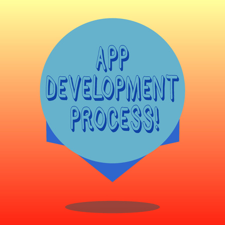 Handwriting text App Development Process. Concept meaning prediction of upcoming trades of a product Blank Color Circle Floating photo with Shadow and Design at the Edge