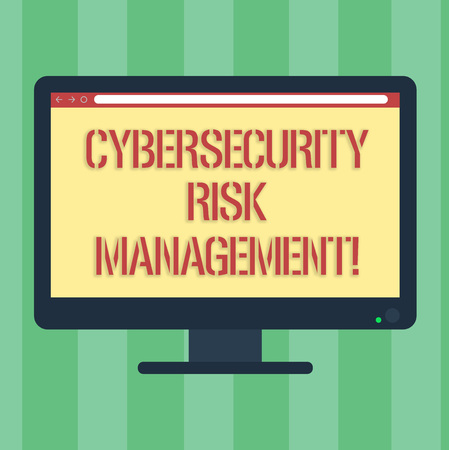 Handwriting text Cybersecurity Risk Management. Concept meaning Identifying threats and applying actions Blank Computer Desktop Monitor Color Screen Mounted with Progress Bar Stok Fotoğraf