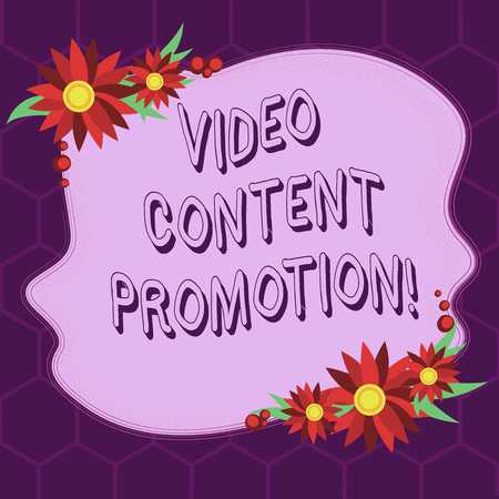 Conceptual hand writing showing Video Content Promotion. Business photo showcasing video with the intent to promote the products Blank Color Shape with Flowers Border for Cards Invitation