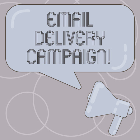 Word writing text Email Delivery Campaign. Business concept for sending a commercial message to a group of showing Megaphone photo and Blank Rectangular Color Speech Bubble with Reflection