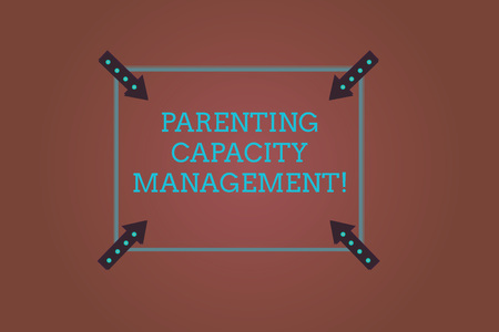 Word writing text Parenting Capacity Management. Business concept for parents ability to protect children from risk Square Outline with Corner Arrows Pointing Inwards on Color Background