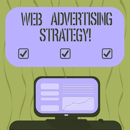 Writing note showing Web Advertising Strategy. Business photo showcasing uses existing social networks to promote a product Mounted Computer Screen with Line Graph on Desk Blank Color Text Box
