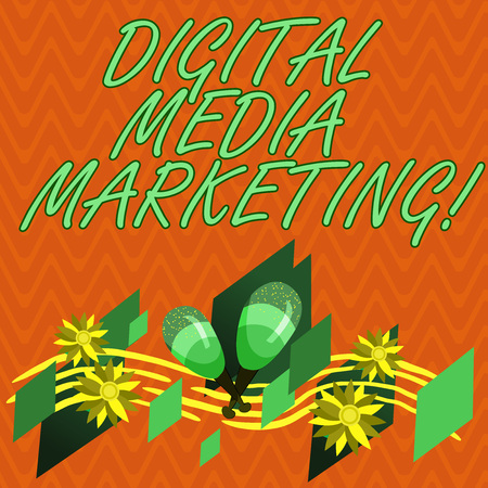 Writing note showing Digital Media Marketing. Business photo showcasing Use of numerous digital tactics and channels Colorful Instrument Maracas Handmade Flowers and Curved Musical Staff
