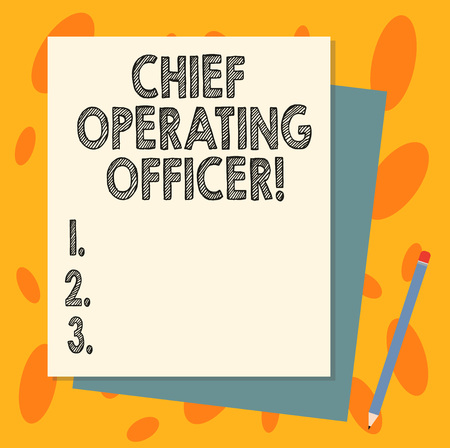 Handwriting text Chief Operating Officer. Concept meaning responsible for the daily operation of the company Stack of Blank Different Pastel Color Construction Bond Paper and Pencil
