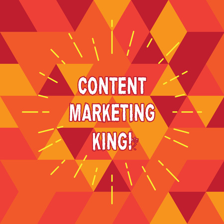 Conceptual hand writing showing Content Marketing King. Business photo text Content is central to the success of a website Thin Beam Lines Spreading out Sunburst Radiates on Squares