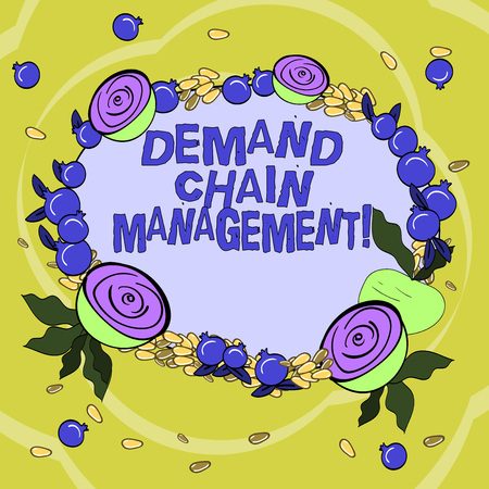 Handwriting text Deanalysisd Chain Management. Concept meaning Relationships between suppliers and customers Floral Wreath made of Tiny Seeds Small Glossy Pomegranate and Cut Beet Stock fotó