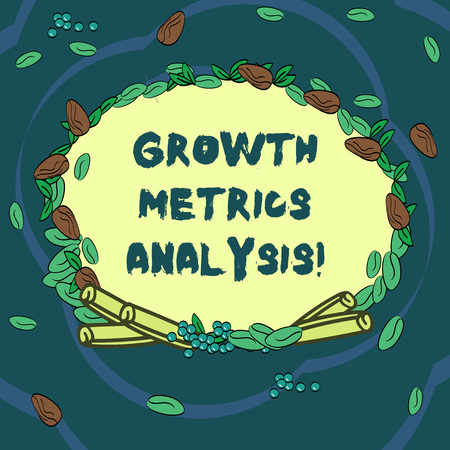 Conceptual hand writing showing Growth Metrics Analysis. Business photo text Evaluating the company s is historical growth Wreath Made of Different Color Seeds Leaves and Cinnamon