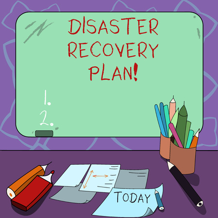 Word writing text Disaster Recovery Plan. Business concept for plan for business stability in the event of disaster Mounted Blank Color Blackboard with Chalk and Writing Tools Sheets on Desk
