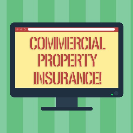 Handwriting text Commercial Property Insurance. Concept meaning provides protection against most risks Blank Computer Desktop Monitor Color Screen Mounted with Progress Bar