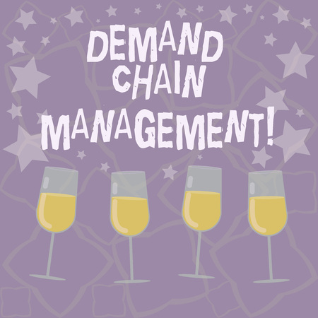 Writing note showing Deanalysisd Chain Management. Business photo showcasing Relationships between suppliers and customers Filled Cocktail Wine Glasses with Scattered Stars as Confetti Stemware