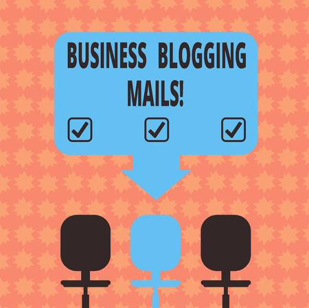 Writing note showing Business Blogging Mails. Business photo showcasing Online journal Publicizes or advertises a website Space Color Arrow Pointing to One of the Three Swivel Chairs 免版税图像