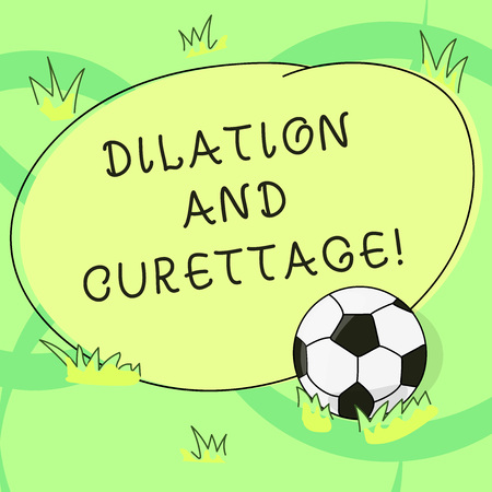 Writing note showing Dilation And Curettage. Business photo showcasing procedure to remove tissue from inside your uterus Soccer Ball on the Grass and Blank Outlined Round Color Shape photo